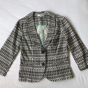 Cabi black and white patterned blazer